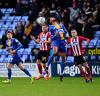Lincoln City's Joe Morrell battles with Shrewsbury Town's Josh Laurent<br /> <br /> Photographer Andrew Vaughan/CameraSport<br /> <br /> The EFL Sky Bet League One - Shrewsbury Town v Lincoln City - Saturday 11th January 2020 - New Meadow - Shrewsbury<br /> <br /> World Copyright © 2020 CameraSport. All rights reserved. 43 Linden Ave. Countesthorpe. Leicester. England. LE8 5PG - Tel: +44 (0) 116 277 4147 - admin@camerasport.com - www.camerasport.com