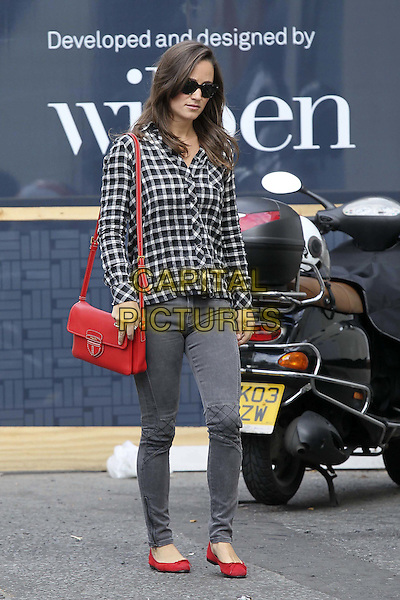 Pippa Middleton spotted in South West London, England..September 16th, 2011.full length grey gray jeans denim check shirt red bag purse flats shoes .CAP/HIL.©John Hillcoat/Capital Pictures .