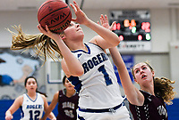 NWA Democrat-Gazette/CHARLIE KAIJO Rogers High School forward Gracie Carr (1) takes a shot, during the Great 8 Tournament, Thursday, November 29, 2018 at King Arena at Rogers High School in Rogers.