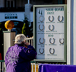 November 3, 2018 : A man looks at the Shoe Board by the paddock on Breeders Cup World Championships Saturday at Churchill Downs on November 3, 2018 in Louisville, Kentucky. Bill Denver /Eclipse Sportswire/CSM