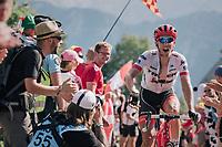 "Koen de Kort (NED/Trek-Segafredo) urging the crowd to make some noise coming through ""Dutch Corner"" (#7) on Alpe d'Huez<br /> <br /> Stage 12: Bourg-Saint-Maurice / Les Arcs > Alpe d'Huez (175km)<br /> <br /> 105th Tour de France 2018<br /> ©kramon"