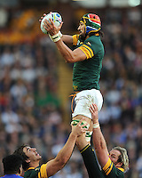 Victor Matfield of South Africa secures the lineout ball during Match 15 of the Rugby World Cup 2015 between South Africa and Samoa - 26/09/2015 - Villa Park, Birmingham<br /> Mandatory Credit: Rob Munro/Stewart Communications