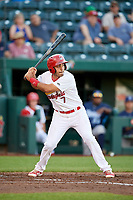Springfield Cardinals shortstop Alex Mejia (7) at bat during a game against the Corpus Christi Hooks on May 30, 2017 at Hammons Field in Springfield, Missouri.  Springfield defeated Corpus Christi 4-3.  (Mike Janes/Four Seam Images)