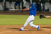AZL Cubs 1 designated hitter Orian Nunez (18) follows through on his swing during an Arizona League playoff game against the AZL Rangers at Sloan Park on August 29, 2018 in Mesa, Arizona. The AZL Cubs 1 defeated the AZL Rangers 8-7. (Zachary Lucy/Four Seam Images)