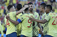 BOGOTA - COLOMBIA, 03-06-2019: Jugadores de Colombia celebran después de anotar el tercer gol durante partido amistoso entre Colombia y Panamá jugado en el estadio El Campín en Bogotá, Colombia. / Players of Colombia celebrate after scoring the third goal during a friendly match between Colombia and Panama played at Estadio El Campin in Bogota, Colombia. Photo: VizzorImage/ Gabriel Aponte / Staff