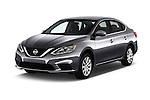 2017 Nissan Sentra S 4 Door Sedan Angular Front stock photos of front three quarter view