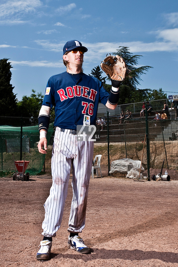 24 May 2009: Luc Piquet of Rouen poses prior to the final game during the 2009 challenge de France, a tournament with the best French baseball teams - all eight elite league clubs - to determine a spot in the European Cup next year, at Montpellier, France. Rouen wins 7-5 over Savigny.