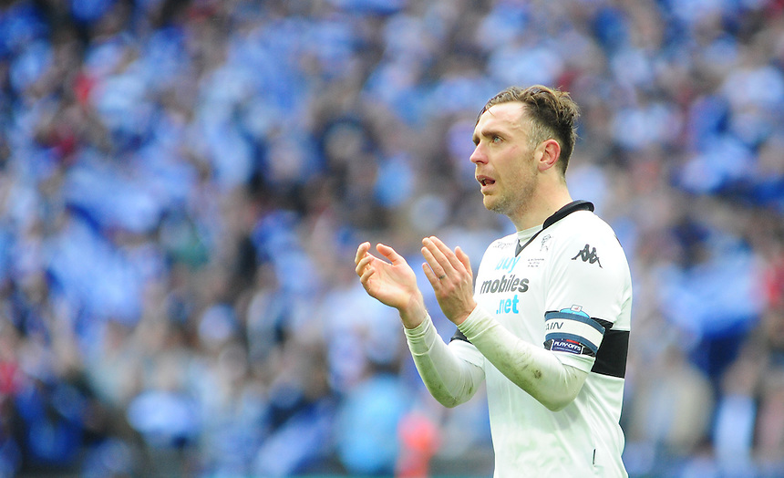 Derby County's Richard Keogh looks distraught at the final whistle <br /> <br /> Photographer Chris Vaughan/CameraSport<br /> <br /> Football - The Football League Sky Bet Championship Play-Off Final - Derby County v Queens Park Rangers - Saturday 24th May 2014 - Wembley Stadium - London<br /> <br /> &copy; CameraSport - 43 Linden Ave. Countesthorpe. Leicester. England. LE8 5PG - Tel: +44 (0) 116 277 4147 - admin@camerasport.com - www.camerasport.com