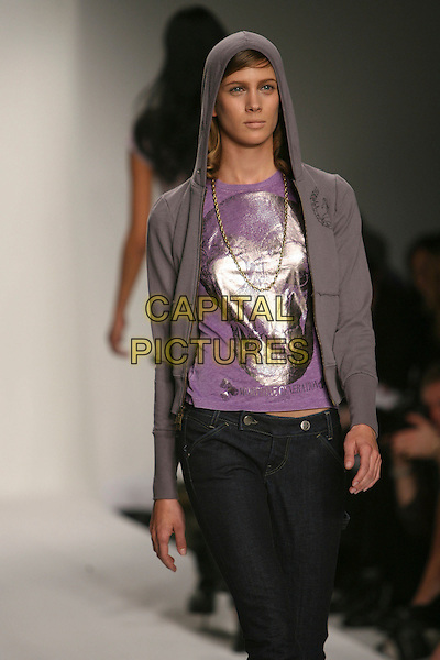 MODEL.Mercedes-Benz Fall 2006 L.A. Fashion Week at Smashbox Studios, Culver City, California, USA - Morphine Generation - Runway.March 20th, 2006.Photo: Zach Lipp/AdMedia/Capital Pictures.Ref: ZL/ ADM.catwalk half length grey gray hooded top purple .www.capitalpictures.com.sales@capitalpictures.com.© Capital Pictures.