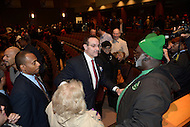 Washington, DC - January 11, 2014:  D.C. Mayor Vincent C. Gray greets supporters after his 2014 campaign kick-off speech at THEARC in southeast D.C. (Photo by Don Baxter/Media Images International)