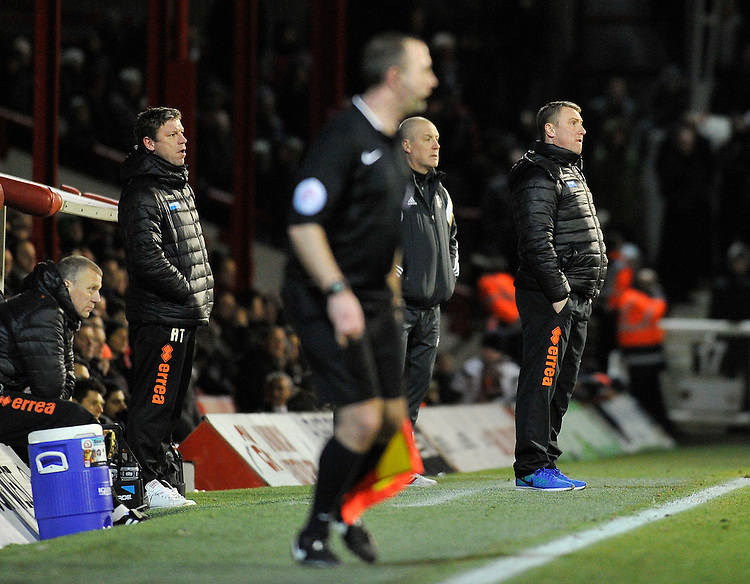 Blackpool manager Lee Clark (right)<br /> <br /> Photographer Ashley Western/CameraSport<br /> <br /> Football - The Football League Sky Bet League One - Brentford v Blackpool - Tuesday 24th February 2015 - Griffin Park - London<br /> <br /> &copy; CameraSport - 43 Linden Ave. Countesthorpe. Leicester. England. LE8 5PG - Tel: +44 (0) 116 277 4147 - admin@camerasport.com - www.camerasport.com