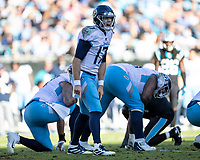 CHARLOTTE, NC - NOVEMBER 3: Ryan Tannehill #17 of the Tennessee Titans changes the play during a game between Tennessee Titans and Carolina Panthers at Bank of America Stadium on November 3, 2019 in Charlotte, North Carolina.