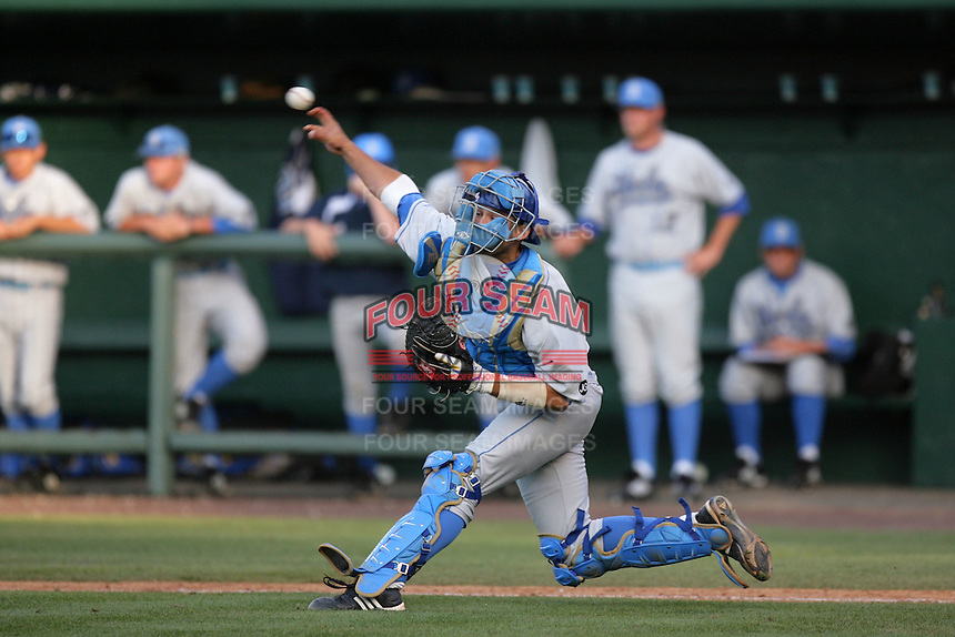 Steve Rodriguez of the UCLA Bruins during game against the Cal.St. Fullerton Titans at Jackie Robinson Stadium in Los Angeles,California on June 12, 2010. Photo by Larry Goren/Four Seam Images