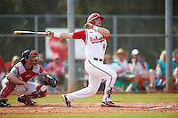 Ohio State Buckeyes center fielder Troy Montgomery (8) at bat in front of catcher Nick Zouras during a game against the Illinois State Redbirds on March 5, 2016 at North Charlotte Regional Park in Port Charlotte, Florida.  Illinois State defeated Ohio State 5-4.  (Mike Janes/Four Seam Images)