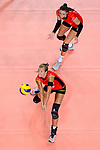 25.08.2018, …VB Arena, Bremen<br />Volleyball, LŠnderspiel / Laenderspiel, Deutschland vs. Niederlande<br /><br />Annahme Maren Fromm (#4 GER), Lena Stigrot (#10 GER)<br /><br />  Foto &copy; nordphoto / Kurth