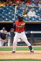 Toledo Mud Hens Daz Cameron (10) at bat during an International League game against the Durham Bulls on July 16, 2019 at Fifth Third Field in Toledo, Ohio.  Durham defeated Toledo 7-1.  (Mike Janes/Four Seam Images)