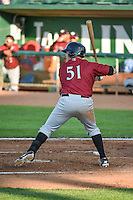Kyle Pollock (51) of the Idaho Falls Chukars at bat against the Ogden Raptors in Pioneer League action at Lindquist Field on June 22, 2015 in Ogden, Utah. The Chukars defeated the Raptors 4-3 in 11 innings. (Stephen Smith/Four Seam Images)