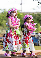 Girls wearing pink plumeria lei and haku head lei perform a hula in Halei'wa, North Shore, O'ahu.