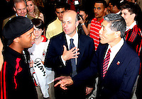 Ronaldinho, Umberto Gandini of AC Milan with DC United owner Will Chang at a reception for AC Milan at DAR Constitution Hall in Washington DC on May 24 2010.