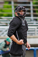 Home plate umpire Tanner Moore during a Midwest League game between the Quad Cities River Bandits and the Beloit Snappers on May 20, 2018 at Pohlman Field in Beloit, Wisconsin. Beloit defeated Quad Cities 3-2. (Brad Krause/Four Seam Images)