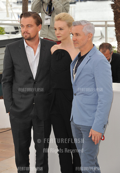 "Leonardo DiCaprio, director Baz Luhrmann & Carey Mulligan at the photocall for their movie ""The Great Gatsby"" at the 66th Festival de Cannes..May 15, 2013  Cannes, France.Picture: Paul Smith / Featureflash"