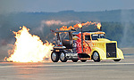 (Chicopee, MA, 07/15/18) Shockwave Jet Truck races down the runway during the Great New England Air and Space Show at Westover Air Reserve Base in Chicopee on Sunday, July 15, 2018. Photo by Christopher Evans