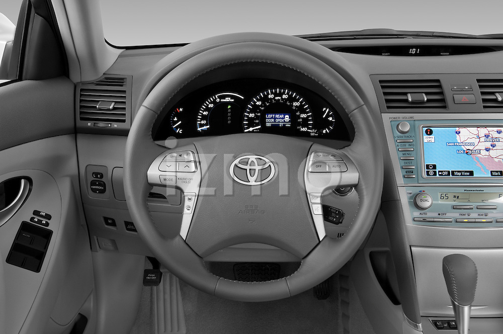 Steering wheel view of a 2009 Toyota Camry Hybrid