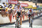 Polka Dot Jersey Julian Alaphilippe (FRA) Quick-Step Floors crosses the finish line 6&quot; behind in 2nd place ahead of Jasper Stuyven (BEL) Trek-Segafredo at the end of Stage 14 of the 2018 Tour de France running 188km from Saint-Paul-Trois-Chateaux to Mende, France. 21st July 2018. <br /> Picture: ASO/Pauline Ballet | Cyclefile<br /> All photos usage must carry mandatory copyright credit (&copy; Cyclefile | ASO/Pauline Ballet)