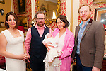Baby Esther Mae O'Connor with her parents John & Catriona O'Connor, Croagh, Co. Limerick and godparents Michelle Kennedy & Daragh Crowley who was christened in Newcastlewest Chirch by Fr. Keane on Sunday last  and afterwards at the Listowel Arms Hotel.