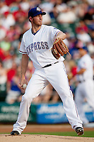 Round Rock Express starting pitcher Greg Reynolds #28 during the MLB exhibition baseball game against the Texas Rangers on April 2, 2012 at the Dell Diamond in Round Rock, Texas. The Rangers out-slugged the Express 10-8. (Andrew Woolley / Four Seam Images)