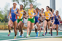 Hannah Richardson of Kansas leads in section three of 1500 Meter final during Baylor Invitational track meet, Friday, April 03, 2015 in Waco, Tex. (Mo Khursheed/TFV Media via AP Images)