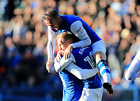 Steven Fletcher of Sheffield Wednesday celebrates Gary Hooper of Sheffield Wednesday goal during the Sky Bet Championship match between Sheffield Wednesday and Nottingham Forest at Hillsborough, Sheffield, England on 9 September 2017. Photo by Leila Coker / PRiME Media Images.