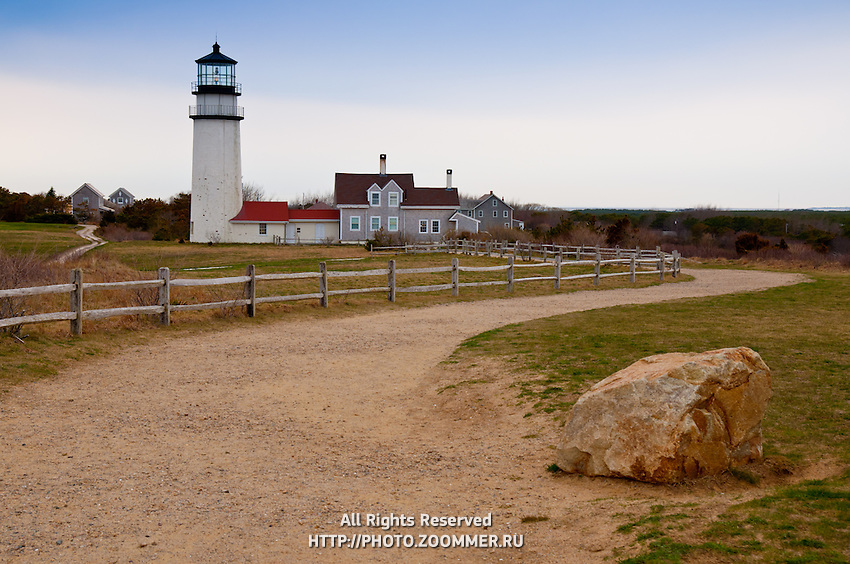 Cape Cod Light, Truro lighthouse with stone on the original place of the lighthouse, Cape Cod