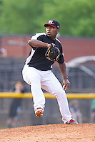 Hickory Crawdads relief pitcher Felix Carvallo (38) in action against the Charleston RiverDogs at L.P. Frans Stadium on May 25, 2014 in Hickory, North Carolina.  The RiverDogs defeated the Crawdads 17-10.  (Brian Westerholt/Four Seam Images)