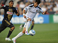 Juan Pablo Angel (9) of the Los Angeles Galaxy plays the ball during a Major League Soccer (MLS) match against the Philadelphia Union at PPL Park in Chester, PA, on May 11, 2011.