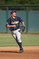 Denis Karas (4) of the California Bears in the field during a game against the UCLA Bruins at Jackie Robinson Stadium on March 25, 2017 in Los Angeles, California. UCLA defeated California, 9-4. (Larry Goren/Four Seam Images)