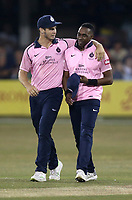 Dwayne Bravo of Middlesex celebrates taking the wicket of Daniel Lawrence during Essex Eagles vs Middlesex, Vitality Blast T20 Cricket at The Cloudfm County Ground on 6th July 2018