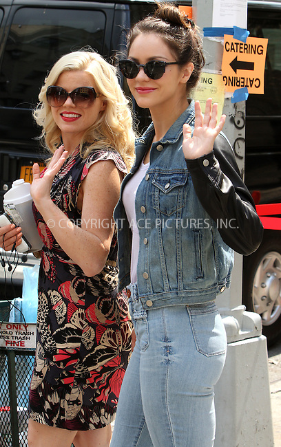 WWW.ACEPIXS.COM....August 22, 2012, New York City, NY.......Actors Megan Hilty and Katharine McPhee on the set of the show 'Smash' on August 22, 2012 in New York City.........By Line: Zelig Shaul/ACE Pictures....ACE Pictures, Inc..Tel: 646 769 0430..Email: info@acepixs.com