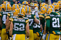 Green Bay Packers players huddle up prior to a game against the New York Giants on January 8th, 2017 at Lambeau Field in Green Bay, Wisconsin.  Green Bay defeated New York 38-13. (Brad Krause/Krause Sports Photography)