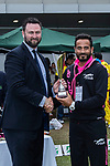 Imran Arif of Hung Hom JD Jaguars (R) is presented with the trophy by Tim Cutler, CEO of Hong Kong Cricket Association (L) after the final match of the Hong Kong T20 Blitz between Kowloon Cantons and City Kaitak at Tin Kwong Road Recreation Ground, Hong Kong, China. Photo by Chris Wong / Power Sport Images