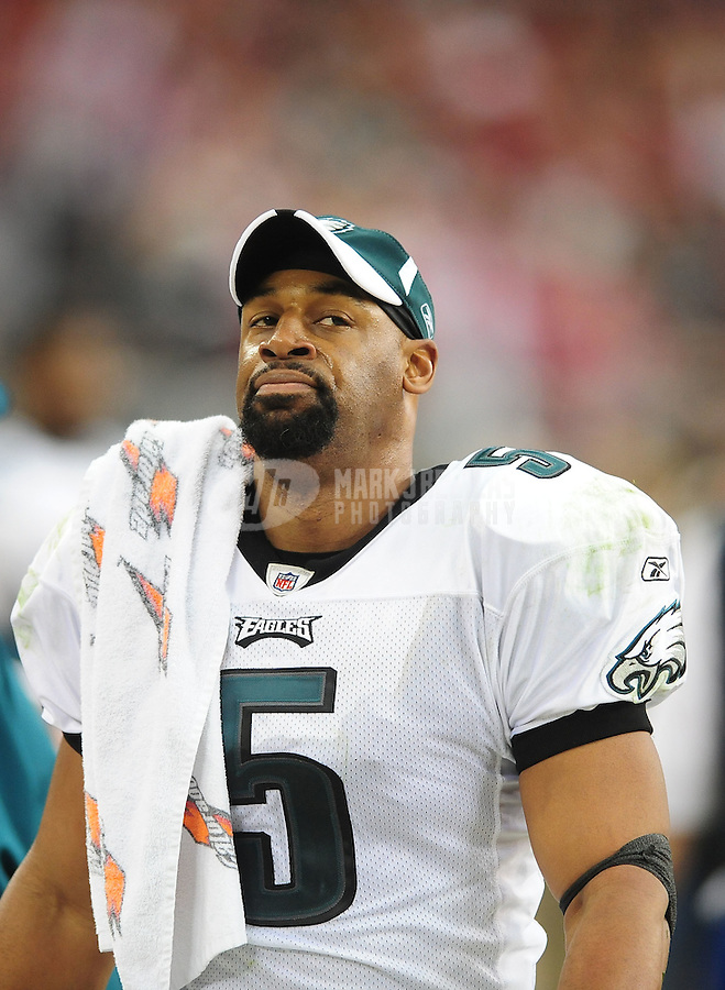 Jan. 18, 2009; Glendale, AZ, USA; Philadelphia Eagles quarterback (5) Donovan McNabb against the Arizona Cardinals during the NFC Championship game at University of Phoenix Stadium. Arizona defeated the Eagles 32-25 to advance to the Super Bowl. Mandatory Credit: Mark J. Rebilas-