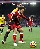 17th March 2018, Anfield, Liverpool, England; EPL Premier League football, Liverpool versus Watford; Mohammed Salah of Liverpool is held by Miguel Angel Britos of Watford