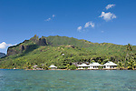 Moorea, French Polynesia; Gump Research Station, as viewed from the water on Cook's Bay , Copyright © Matthew Meier, matthewmeierphoto.com All Rights Reserved