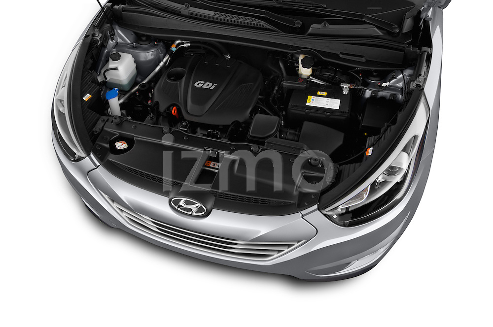 Car Stock 2015 Hyundai Tucson SE Awd 5 Door Suv 2WD Engine high angle detail view