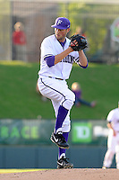 Pitcher Nate Smith (15) of the Furman Paladins in a game against the Clemson Tigers on Wednesday, May 8, 2013, at Fluor Field at the West End in Greenville, South Carolina. (Tom Priddy/Four Seam Images)