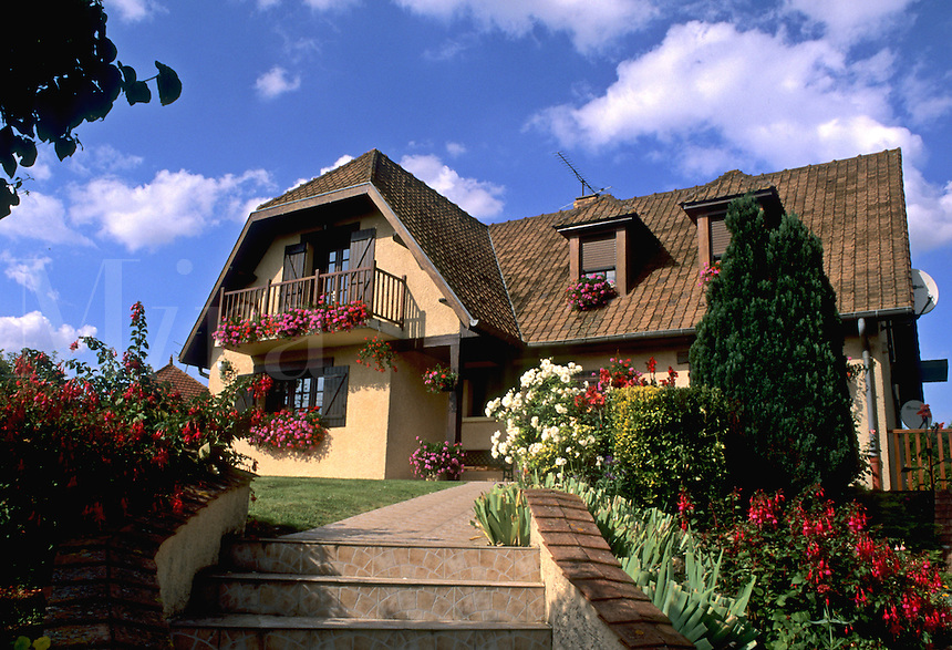 France Beautiful House  in country town of Peronne in Provence of Picardie France