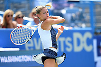 Washington, DC - August 4, 2019: Camila Giorgi (ITA) returns the ball against Jessica Pegula (USA) NOT PICTURED during the WTA Citi Open Woman's Finals at Rock Creek Tennis Center, in Washington D.C. (Photo by Philip Peters/Media Images International)