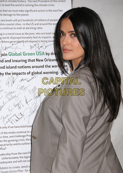 SALMA HAYEK.5th Annual Global Green USA Pre Oscar Party at Avalon, Hollywood, California, USA..February 20th, 2008.half length grey gray suit jacket looking over shoulder .CAP/ADM/BP.©Byron Purvis/AdMedia/Capital Pictures.