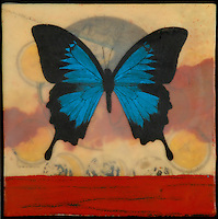 Mixed media photography with encaustic painting and antique map - butterfly and moon phases
