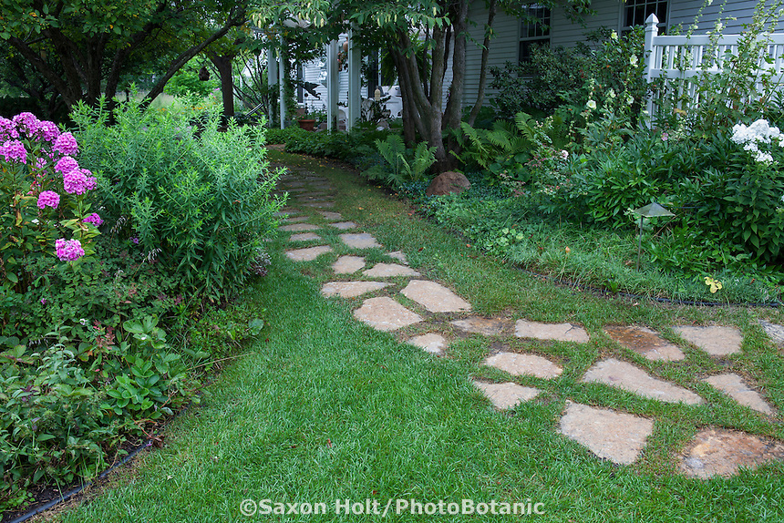 Stepping stone path through lawn to shady back yard garden entry, Minnesota garden